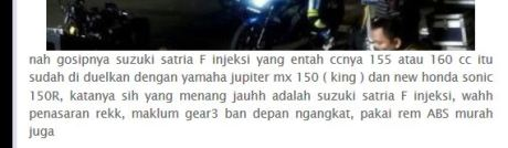 suzuki satria f injeksi jauh kalahkan honda sonic 150R di sentul pertamax7.com