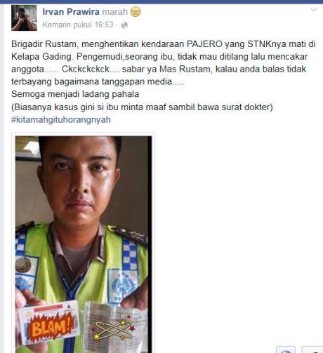 Tak Terima di Tilang, Ibu-ibu Naik Mobil Mewah Pajero itu Cakar Polisi di Kelapa gading pertamax7.com