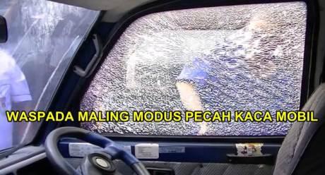 waspada maling modus pecah kaca mobil pakai pecahan keramik busi pertamax7.com