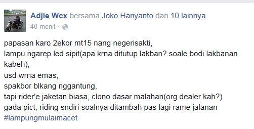 Yamaha MT15 Blusukan ke Lampung buat Test Jalanan, sadess pertamax7.com