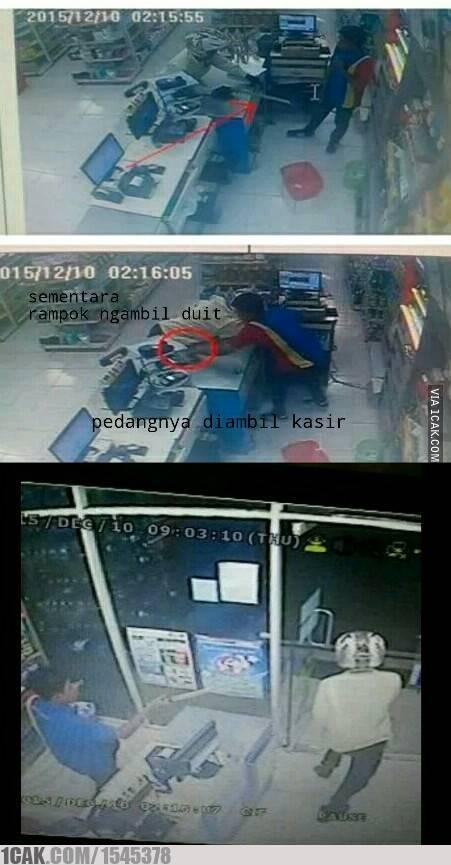 Aksi Kasir Indomaret Gagalkan Rampok Amatir jadi Viral , Rekaman CCTV sudah izin perampok belum pertamax7.com