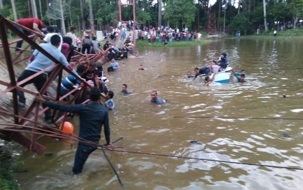 Dinaiki Ratusan Alay Selfie, Jembatan Gantung Ambruk di Hutan Bale Jurong Kota Langsa Aceh pertamax7.com