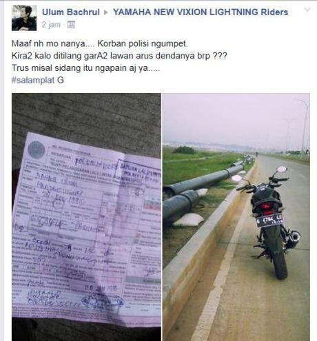 Ditilang Karena Lawan Arus kok ngakunya jadi korban Polisi Ngumpet pertamax7.com