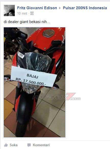 Hebohh,, Kawasaki Bajaj Pulsar 200NS baru dijual cuma Rp,17,5 juta di Bekasi pertamax7.com