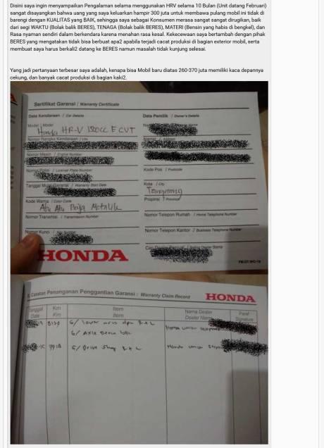 Keluhan Konsumen Honda HRV ini lagi ramai di Kaskus, moga cepat beres 04 Pertamax7.com