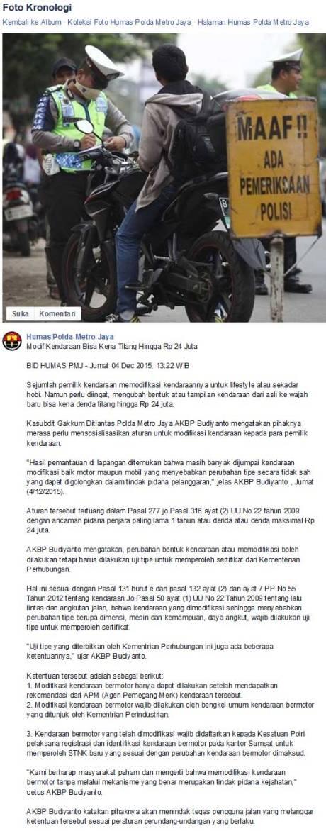 Modifikasi Kendaraan Sembarangan bakal kena Tilang Rp.24 juta, Knalpot Racing juga pertamax7.com