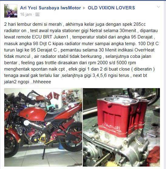 Modifikasi Yamaha Vixion Bored Up Stroke Up tembus 285 cc Karya IWSmotor SUrabaya 04 Pertamax7.com