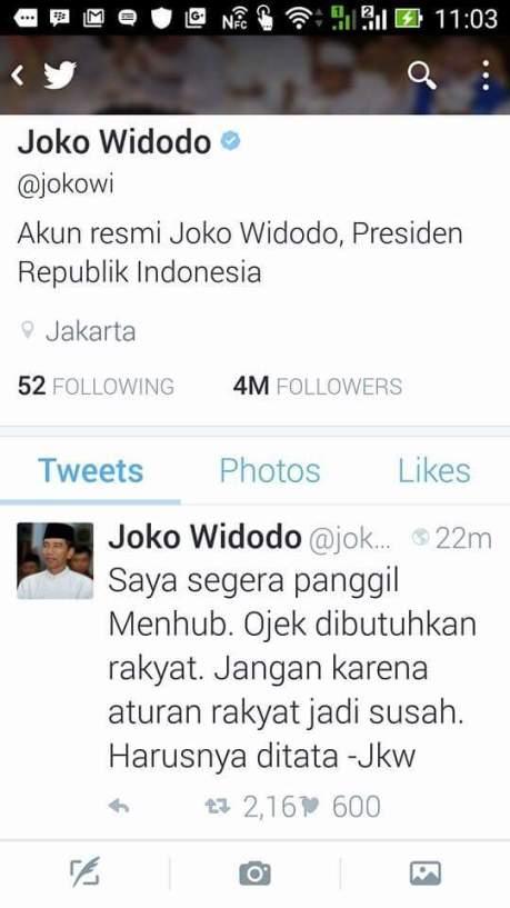 presiden jokowi panggil menhub jonan karena melarang gojek pertamax7.com
