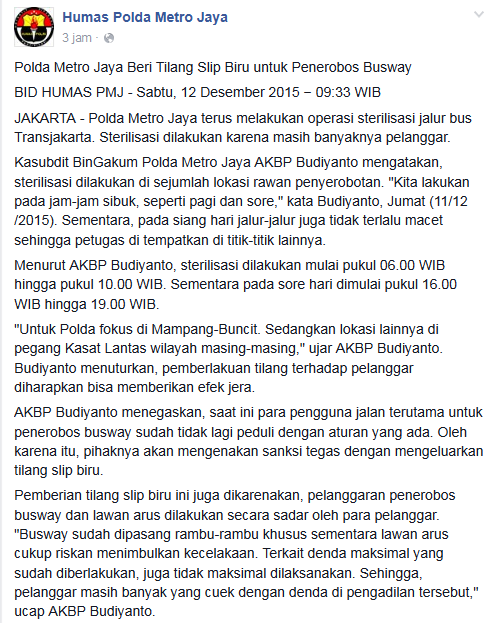 Serobot jalur Busway, Langsung Slip Biru Denda Maksimal Motor Rp.500 rinu Mobil Rp.1 Juta , Galakkan pertamax7.com