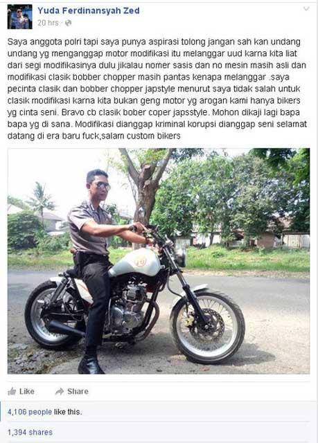 Suka Motor Kustom, Anggota Polisi Ini minta Undang-undang Modifikasi sembarangan di Kaji Ulang pramax7.com