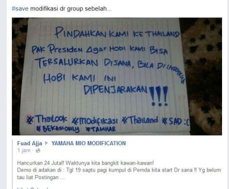 Tak terima denda Modifikasi Rp.24 juta, Pengendara motor modfikasi mau demo 19 Desember 2015 minta pindah ke Thailand supaya Thailook pertamax7.com