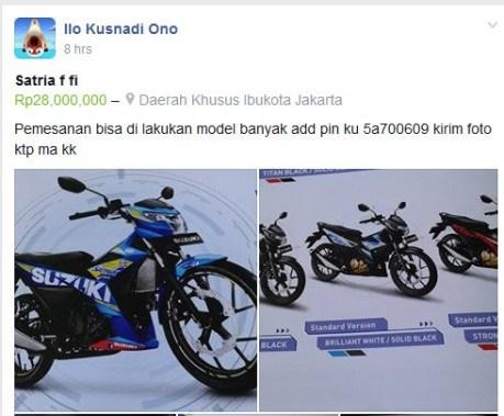 Tersedia 5 warna,  Harga All New Suzuki Satria F injeksi Rp.28 juta pas, Salah ketik apa beneran nih pertamax7.com