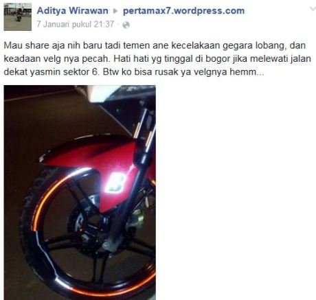 Hajar Lubang, Velg Depan Yamaha New Vixion Lightning ini sampai Pecah pertamax7.com 1