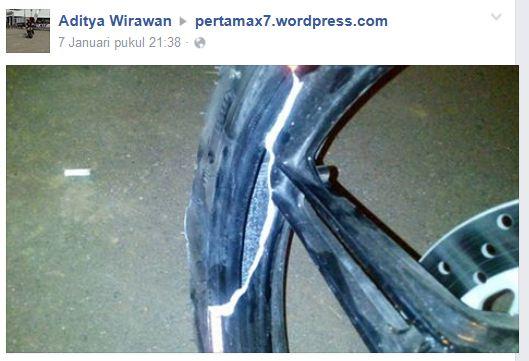 Hajar Lubang, Velg Depan Yamaha New Vixion Lightning ini sampai Pecah pertamax7.com