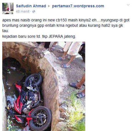 Kecelakaan All New Honda CB150R sampai Masuk Got di Jepara pertamax7.com