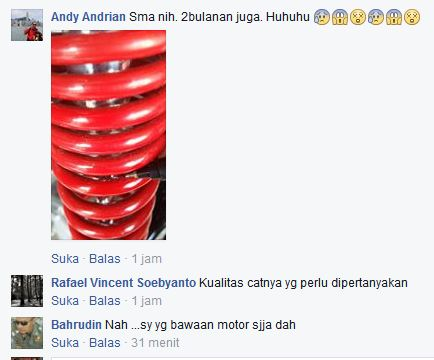 Keluhan Aksesoris Sok Belakang Empuk Kayaba Yamaha Nmax Cat Gampang Mengelupas 04 Pertamax7.com