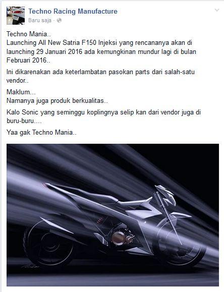 Launching All New Suzuki Satria F 150 Injeksi pada 29 januari 2016 mundur ke Februari karena Vendor