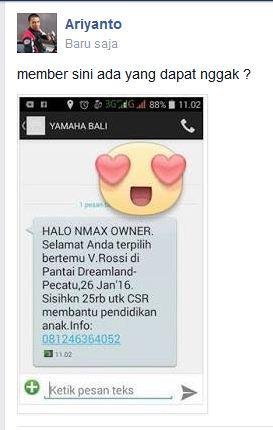 Mantabh Lek Aripitstop Dapat Sms Nmax Owner Bertemu Valentino ROSSI 26 Januari 2016 Di Pantai Dreamline Bali pertamax7.com