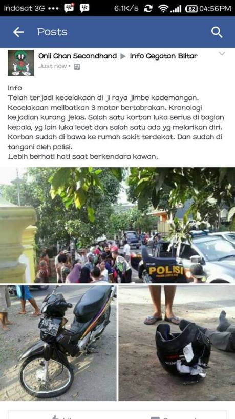 Ngeri Helm TRX Hancur Setelah Kecelakaan 3 Motor Di Blitar, Coba Kalau Tidak SNI Dan Nggak Pake Helm 05 Pertamax7.com