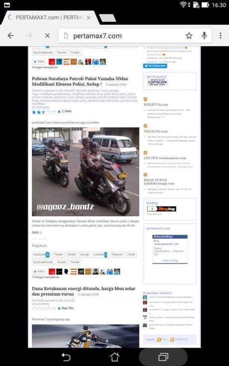 performa browsing pakai Asus ZenPad 7.002 Pertamax7.com